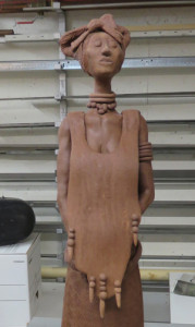 Cindy O'Neill's African statue before firing