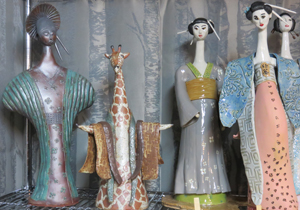 Cindy O'Neill's ceramic figures