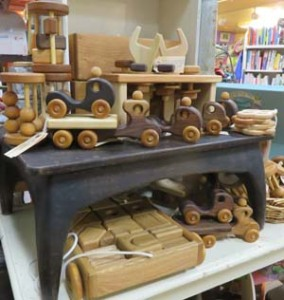 A Summer Afternoon's wooden toys on display at Clothes Pony & Dandelion Toys