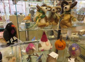 Felted wool figures by Fran Bowen at Trimble Court Artisans in Fort Collins