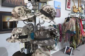 Wool hats by Mickey Ramirez displayed at Rabbask Designs, Loveland, Colorado