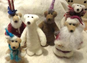 Bears of felted wool by Fran Bowen of Fort Collins