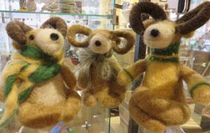 Long-horned sheep of felted wool by Fran Bowen