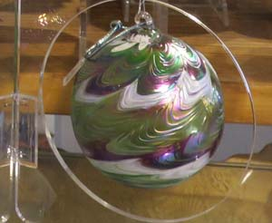 Handblown glass ornament at The Evergreen Gallery
