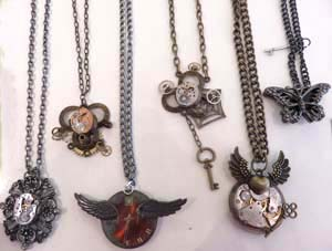 Steampunk jewelry from BeeBull Designs of Denver, Colorado, is one of the lines with special appeal to younger shoppers.