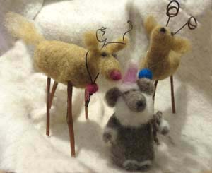 Felted wool animals by Fran Bowen
