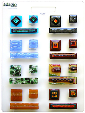 Fused glass hardware and tile samples by Adagio Art Glass
