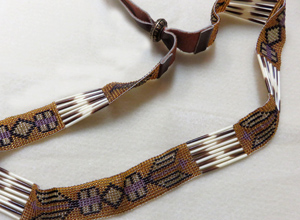 Bead and porcupine quill hatband by Heidi Gore