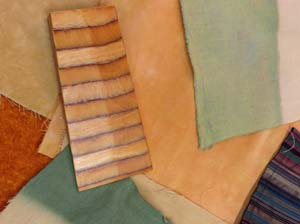Color samples of wood and fabric