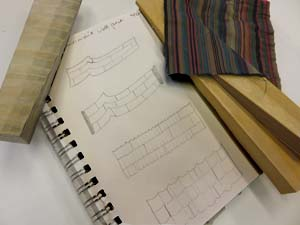 Four textile design sketches by Anne Bossert