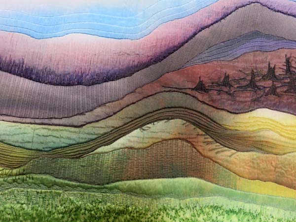 "A section of the silk painting ""Landscape"" by Phillippa Lack"