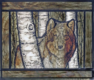 """Ghost Wolf"" in painted stained glass by Karen Cannon and Anne Meier-Davis"