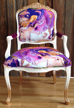 Upholstered upcycled chair by Jamie Solveson