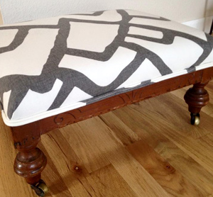 Upcycled footstool by Jamie Solveson