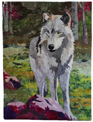 Arctic wolf created in fabric by Barbara Yates Beasley
