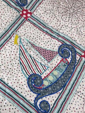 Nautical quilt with computer-guided applique | Designed and created by Kelly Gallagher-Abbott