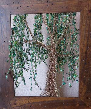 Willow tree of wire and beads by Carrie Lambert of Loveland, Colorado