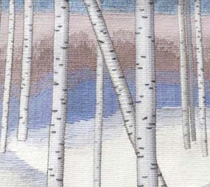 """Birches in the Snow"" -- wool tapestry by Elizabeth Shoeman of Longmont, Colorado"