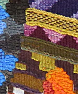 Close-up of tapestry by David Johnson