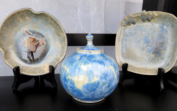 Crystalline glazes on functional ware by Diana Begner