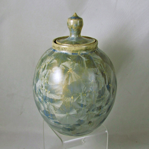 Ceramic urn with crystalline glaze by Diana Begner