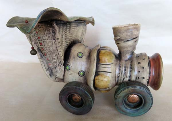 Whimsical ceramic train engine by Kristin Gruenberger