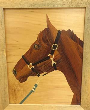 Horse in marquetry by Ellen Kisker