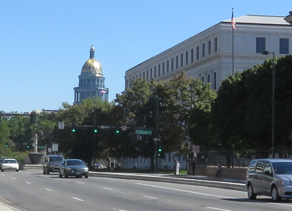 The dome of Colorado's capitol from downtown Denver