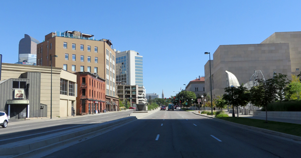 Traffic was light on the streets of downtown Denver at midday.