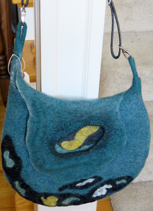 Seamless purse of felted wool by Kaye Dudek