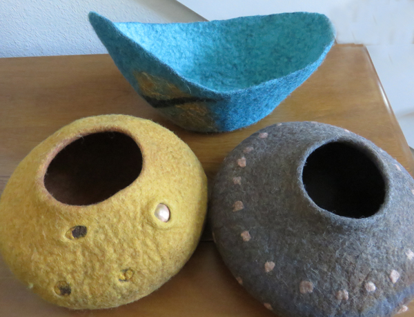 Vessels of felted wool by Kaye Dudek