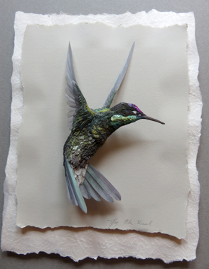 Paper sculpture of female hummingbird by Tiffany Miller Russell