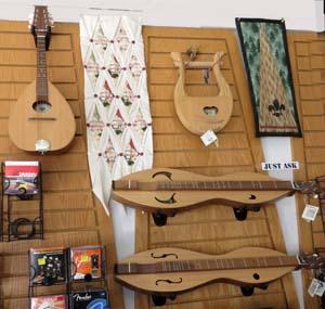 Handmade musical instruments at Medeiros Music in Loveland, Colorado