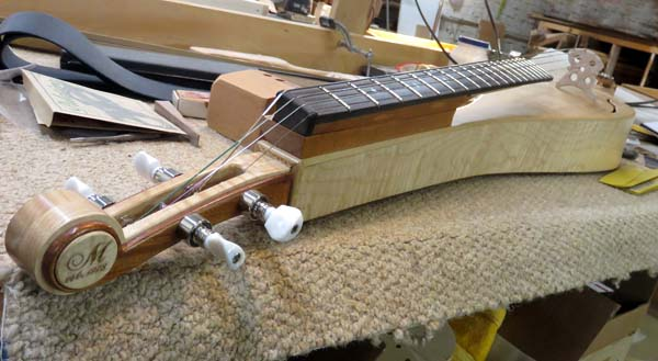 """The """"bociere"""" invented by Mike Medeiros, with features of dulcimer and cello"""