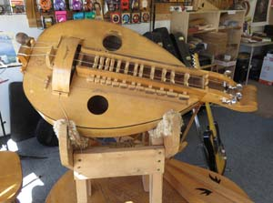 Hurdy-gurdy made by Mike Medeiros, owner of Medeiros Music in Loveland, Colorado